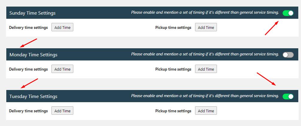 Weekdays Service Timings